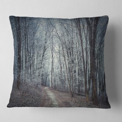 Dense Fall Forest Path Landscape Photo Pillow Size: 16