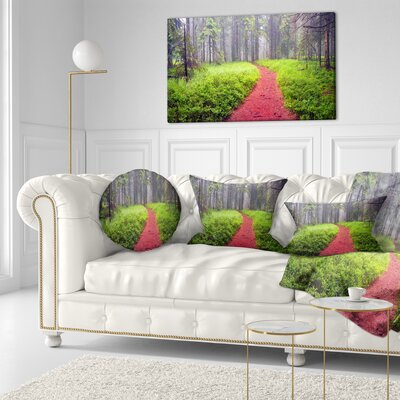 Desert Footpath to Misty Forest Landscape Photography Throw Pillow Size: 16 x 16