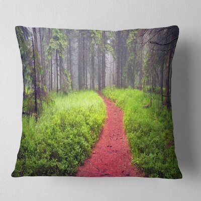 Desert Footpath to Misty Forest Landscape Photography Pillow Size: 16 x 16, Product Type: Throw Pillow