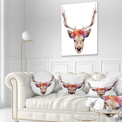 Deer Portrait with Floral Head Deer Throw Pillow Size: 20  x 20