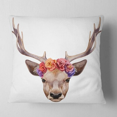 Deer Portrait with Floral Head Deer Pillow Size: 26 x 26, Product Type: Euro Pillow