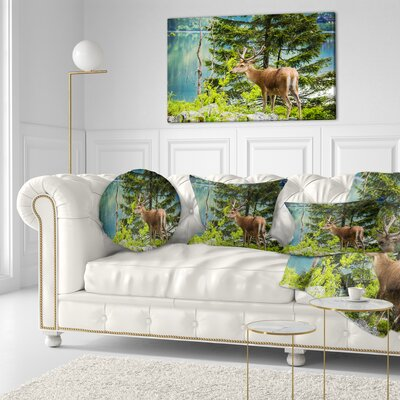 Deer Stag near the Lake Animal Throw Pillow Size: 16 x 16