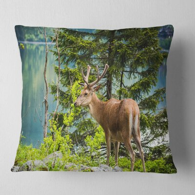 Deer Stag near the Lake Animal Pillow Size: 16 x 16, Product Type: Throw Pillow