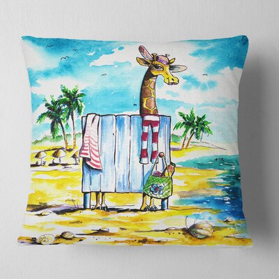 Giraffe in Dressing Room on Beach Cartoon Animal Pillow Size: 16 x 16, Product Type: Throw Pillow