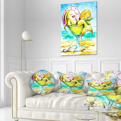 Fish Enjoying Holidays on Beach Cartoon Animal Throw Pillow Size: 20  x 20