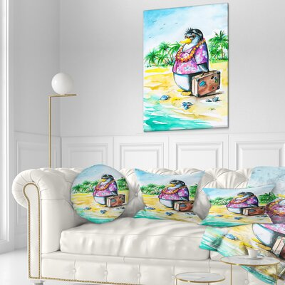 Penguin Enjoying Holidays on Beach Cartoon Animal Throw Pillow Size: 16 x 16