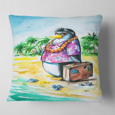 Penguin Enjoying Holidays on Beach Cartoon Animal Pillow Size: 16 x 16, Product Type: Throw Pillow