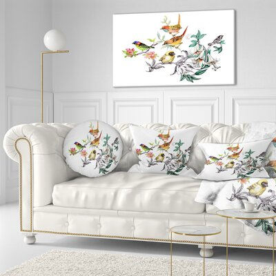 Tropical Flowers and Birds Birds Throw Pillow Size: 20  x 20