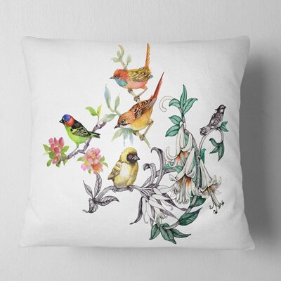 Tropical Flowers and Birds Birds Pillow Size: 16 x 16, Product Type: Throw Pillow