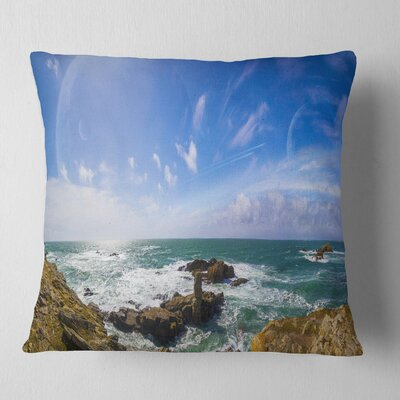 Distant Planet System from Cliffs Seashore Pillow Size: 16 x 16, Product Type: Throw Pillow