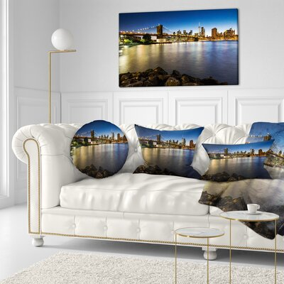 Distant View of Brooklyn Bridge Cityscape Throw Pillow Size: 20  x 20
