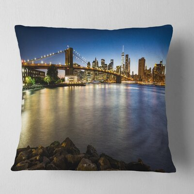 Distant View of Brooklyn Bridge Cityscape Pillow Size: 16 x 16, Product Type: Throw Pillow