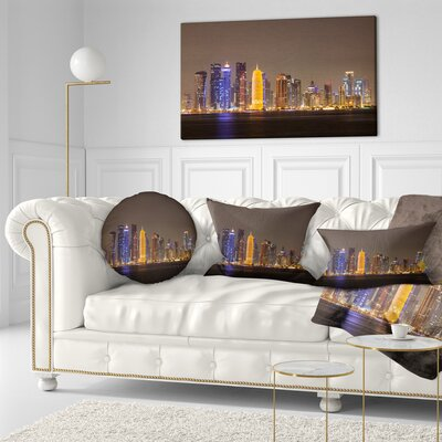Doha City Skyline at Night Qatar Cityscape Throw Pillow Size: 16 x 16