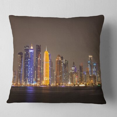 Doha City Skyline at Night Qatar Cityscape Pillow Size: 16 x 16, Product Type: Throw Pillow