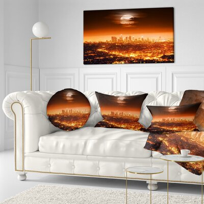 Dramatic Full Moon over Los Angeles Cityscape Throw Pillow Size: 20  x 20