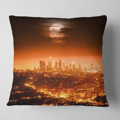 Dramatic Full Moon over Los Angeles Cityscape Pillow Size: 18 x 18, Product Type: Throw Pillow