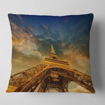Dramatic Sky Above Paris Paris Eiffel Towerin Paris Cityscape Pillow Size: 26 x 26, Product Type: Euro Pillow