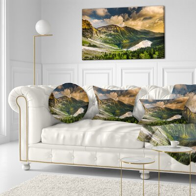 Dramatic Sky over Alpine Lake Landscape Printed Throw Pillow Size: 16 x 16
