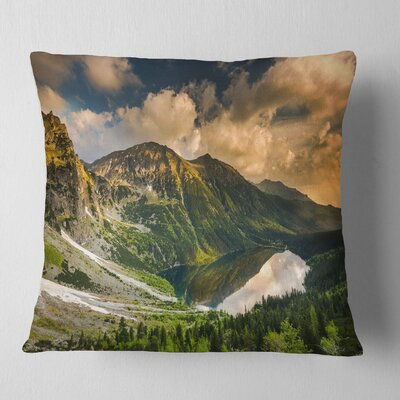 Dramatic Sky over Alpine Lake Landscape Printed Pillow Size: 26 x 26, Product Type: Euro Pillow