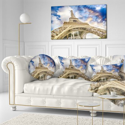 Dramatic Sky over Ground View of Paris Paris Eiffel Tower Cityscape Throw Pillow Size: 16 x 16