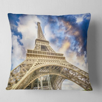 Dramatic Sky over Ground View of Paris Paris Eiffel Tower Cityscape Pillow Size: 16 x 16, Product Type: Throw Pillow