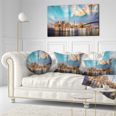 Dramatic Sky over Manhattan City Cityscape Throw Pillow Size: 20  x 20