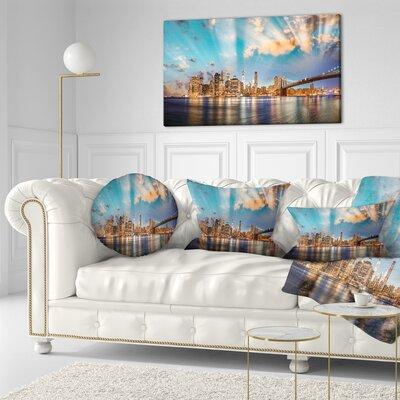 Dramatic Sky over Manhattan City Cityscape Throw Pillow Size: 16 x 16