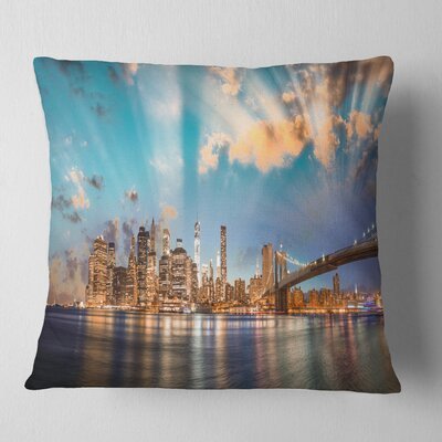 Dramatic Sky over Manhattan City Cityscape Pillow Size: 26 x 26, Product Type: Euro Pillow