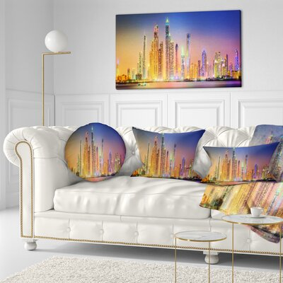 Dubai Marina Skyscrapers Panorama Cityscape Throw Pillow Size: 20  x 20
