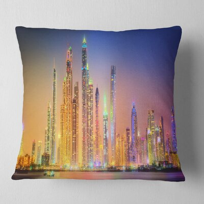 Dubai Marina Skyscrapers Panorama Cityscape Pillow Size: 18 x 18, Product Type: Throw Pillow
