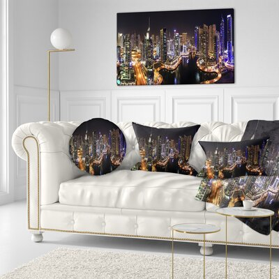 Dubai Marina View at Night Cityscape Throw Pillow Size: 16 x 16