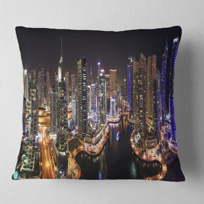 Dubai Marina View at Night Cityscape Pillow Size: 26 x 26, Product Type: Euro Pillow