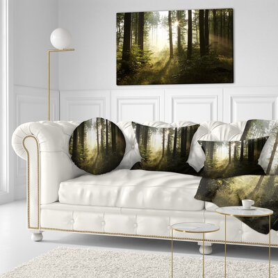 Early Morning Sun in Misty Forest Landscape Photography Throw Pillow Size: 20