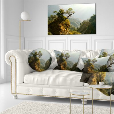 Enchanted Nepal Mountains Landscape Photography Throw Pillow Size: 20