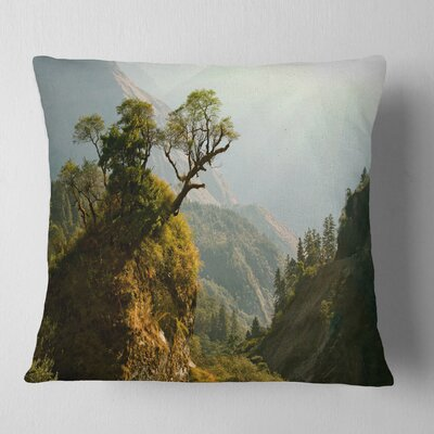 Enchanted Nepal Mountains Landscape Photography Pillow Size: 18