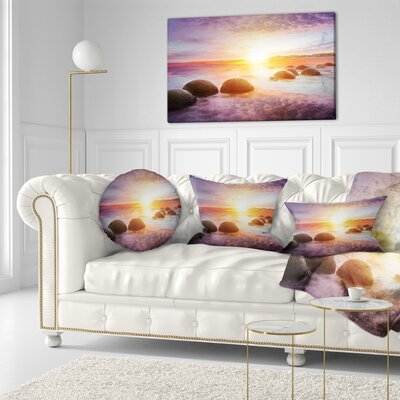 Evening Sun over Moeraki Boulders Seashore Photo Throw Pillow Size: 20  x 20