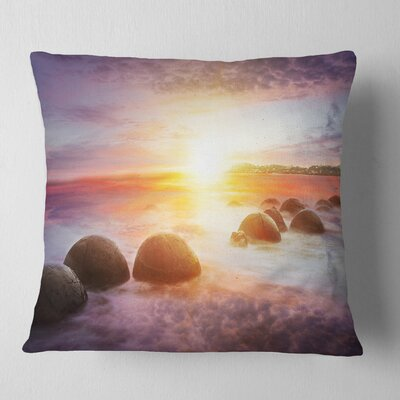 Evening Sun over Moeraki Boulders Seashore Photo Pillow Size: 16