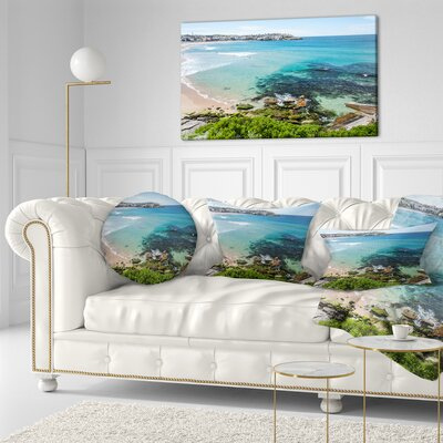 Expansive Sydney Bondi Beach Seashore Throw Pillow Size: 20  x 20