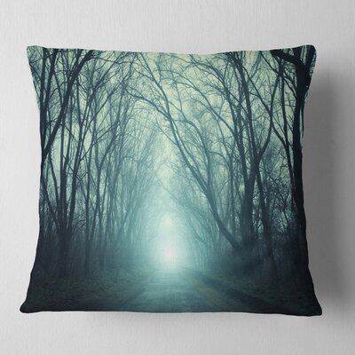 Fall Forest Path with Light Landscape Photography Pillow Size: 18 x 18, Product Type: Throw Pillow
