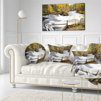 Fall River over Riffles and Rocks Landscape Photography Throw Pillow Size: 20  x 20