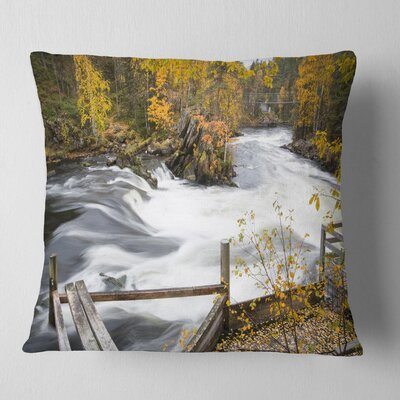 Fall River over Riffles and Rocks Landscape Photography Pillow Size: 18 x 18, Product Type: Throw Pillow