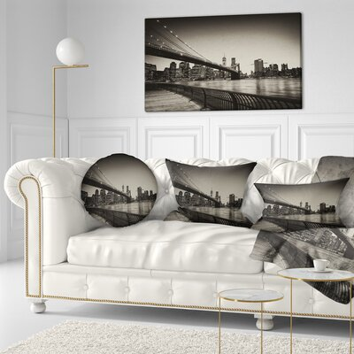 Famous Landmark of Brooklyn Bridge Cityscape Throw Pillow Size: 20  x 20