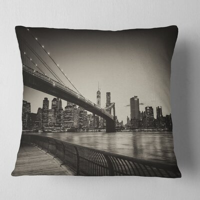 Famous Landmark of Brooklyn Bridge Cityscape Pillow Size: 26 x 26, Product Type: Euro Pillow