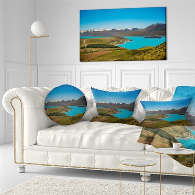 Fantastic Calm Landscape of New Zealand Landscape Printed Throw Pillow Size: 20  x 20