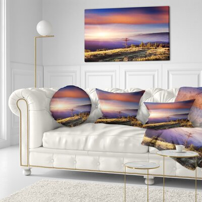 Fantastic Sunrise and Dead Tree Landscape Photo Throw Pillow Size: 16 x 16