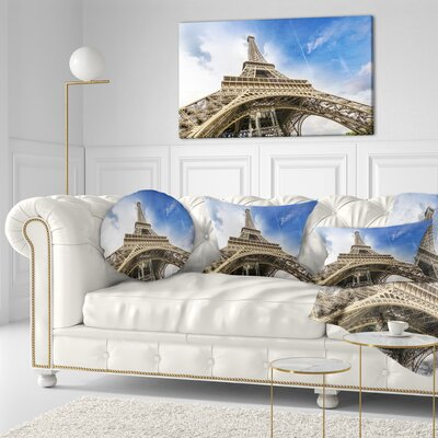 Fantastic View of Paris Paris Eiffel Towerfrom Ground Cityscape Throw Pillow Size: 20  x 20