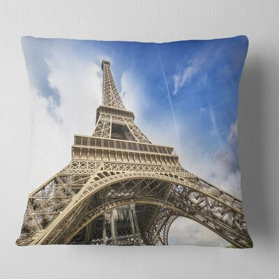 Fantastic View of Paris Paris Eiffel Towerfrom Ground Cityscape Pillow Size: 18 x 18, Product Type: Throw Pillow