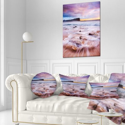Fascinating Seashore with Waters Seashore Throw Pillow Size: 16 x 16