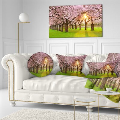 Fascinating Springtime Cherry Scenery Landscape Printed Throw Pillow Size: 16 x 16