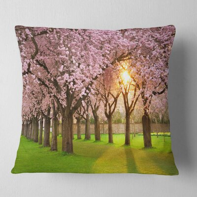 Fascinating Springtime Cherry Scenery Landscape Printed Pillow Size: 26 x 26, Product Type: Euro Pillow